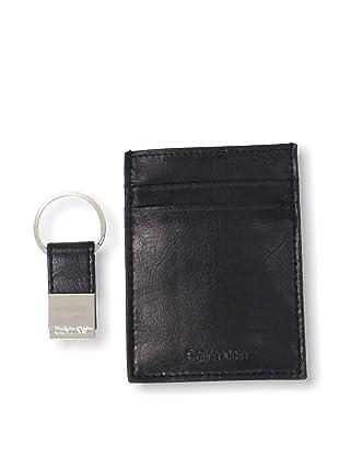 Calvin Klein Men's Front Pocket Clip Wallet/Key Fob Set (Black)