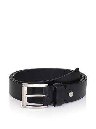 Calvin Klein Men's Flat Strap Leather Belt (Black)