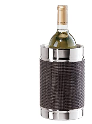 Oggi Stainless Steel Double Walled Wine Cooler with Woven Vinyl Wrap