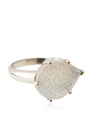 Anzie Drusy Pear Ring, Silver and White, Size 6