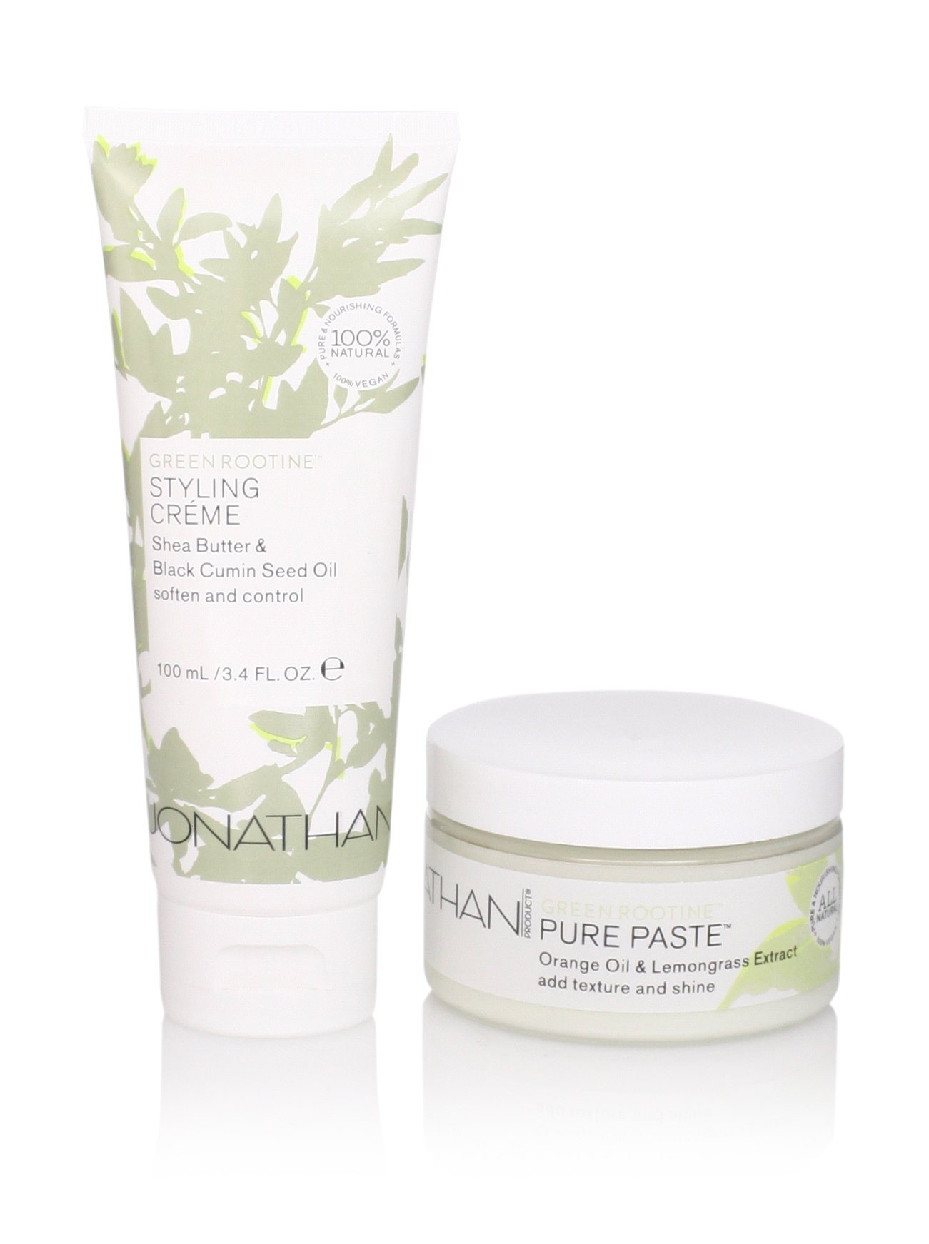 Jonathan Product Green Rootine Pure Paste and Styling Crème, 2 Pack