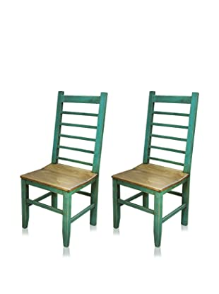 Reclaimed Wood Furniture Set of 2 Ladder Dining Chair (Turquoise)