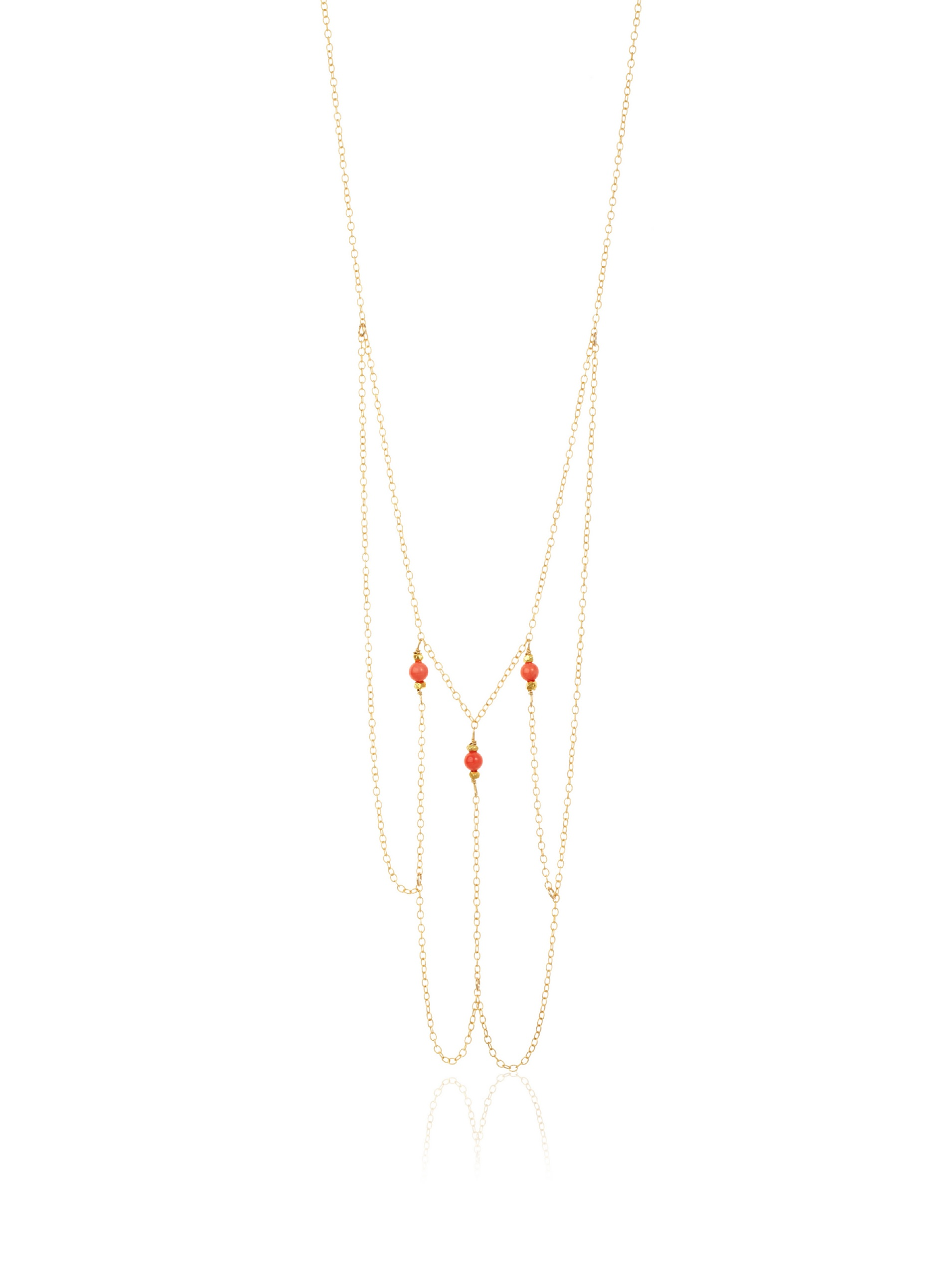 Gorjana Capri Long Layered Necklace, Coral