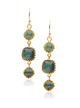 Kevia Rococo Emerald Linear Earrings