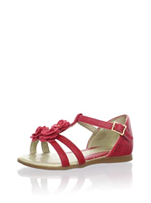 Pampili Kid's T-Strap Sandal with Fabric Flowers (Red)