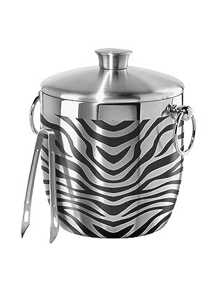 Oggi Zebra Stainless Steel Double Wall Ice Bucket with Tongs