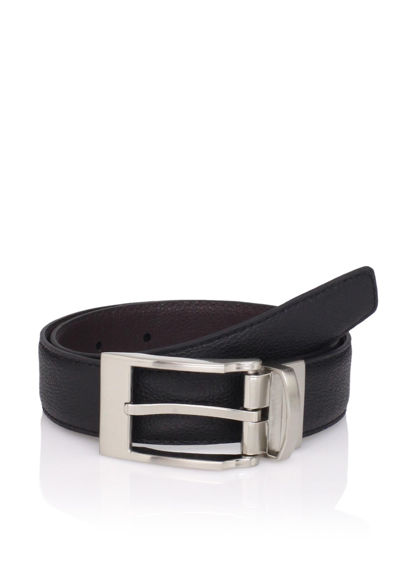 Ike Behar Boy's Pebbled Reversible Belt (Black/brown)