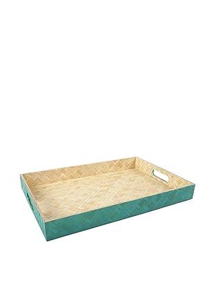 Core Bamboo Rectangle Zig-Zag Weave Trays (Teal)