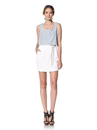 Kenneth Cole Women's Pleated Skirt with Paperbag Waist (White)