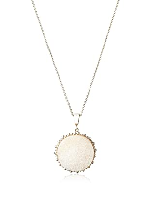 Anzie Drusy Large Round Dew Drop Necklace, White and Silver