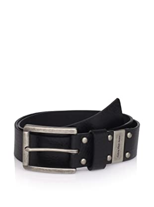 Calvin Klein Men's Flat Strap Belt with Logo Plate (Black)