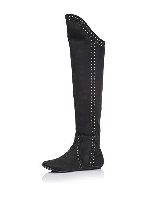 D-Segno Women's Sofia Tall Flat Boot (Texas Black)