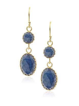 Kevia Rococo Sapphire Oval Dangle Earrings