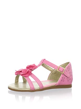 Pampili Kid's T-Strap Sandal with Fabric Flowers (Pink)