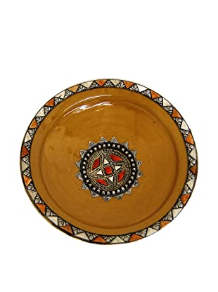 Badia Metal and Bone Ceramic Plate, Yellow/Red/Silver