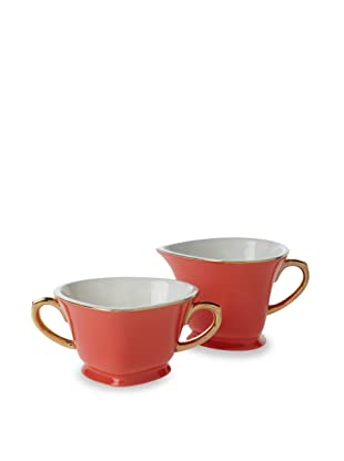 Classic Coffee & Tea Inside Out Heart Sugar & Creamer (Java Orange/Gold)