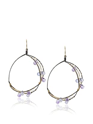 Misha Iolite Two-Tone Hoop Earrings