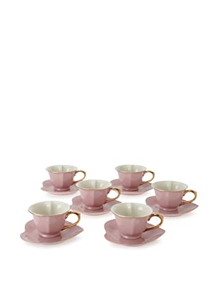Classic Coffee & Tea Inside Out Heart Cups & Saucers, Set of 6 (Pink/Gold)
