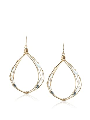 Misha London Blue Topaz & Blue Topaz Teardrop Hoop Earrings