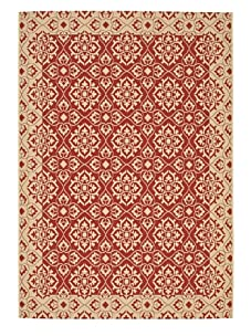 Indoor/Outdoor Floral Medallion Rug (Red/Cream)