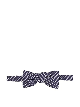 E.Tautz Men's Slub Stripe Bow Tie (Navy)