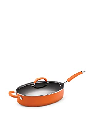 Rachael Ray Porcelain Enamel Nonstick 5-Quart Oval Saute Pan with Glass Lid, Orange