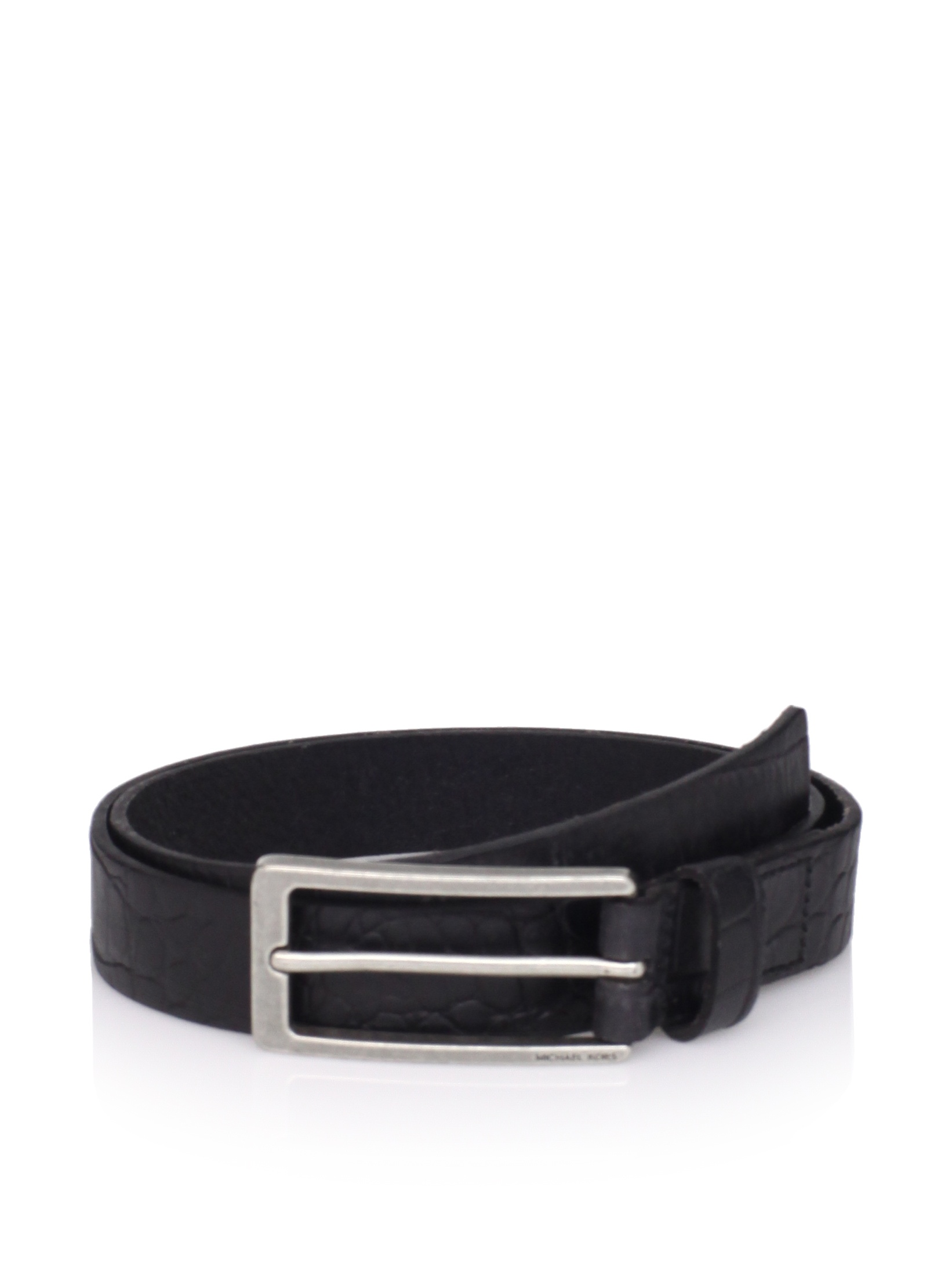 Michael Kors Men's Croc-Embossed Belt (Black)