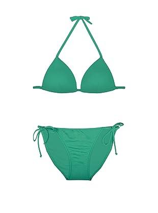 Cosabella Swim Women's Sol Push Up Triangle Top & Low Rider String Bottom Bikini Set (Jade)