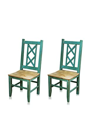 Reclaimed Wood Furniture Set of 2 Bombay Dining Chair (Turquoise)