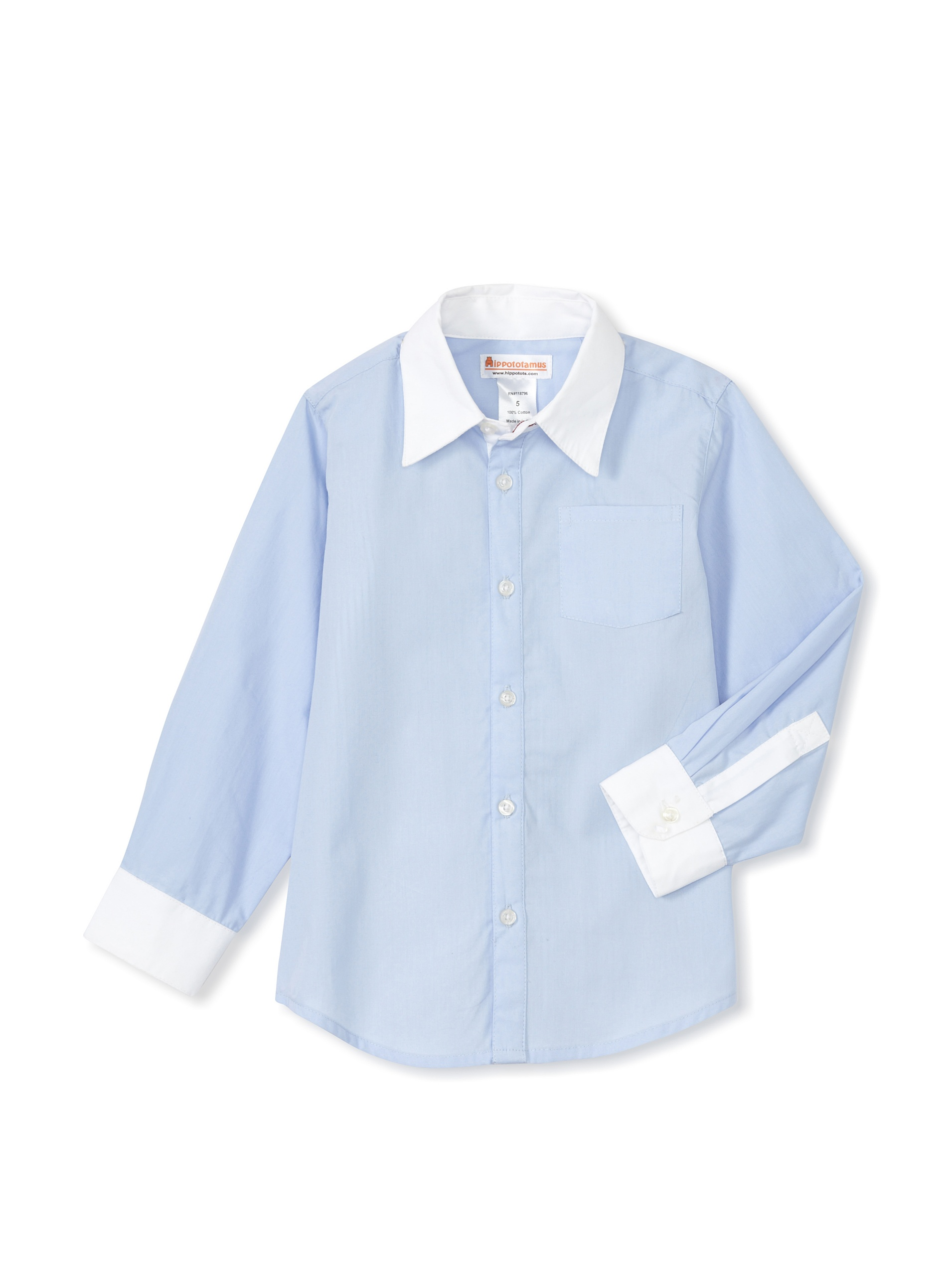 Hippototamus Button-Front Shirt (Blue/White/Stripe Back)