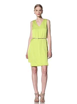 Pink Tartan Women's V-Neck Folded Dress (Acid Green)