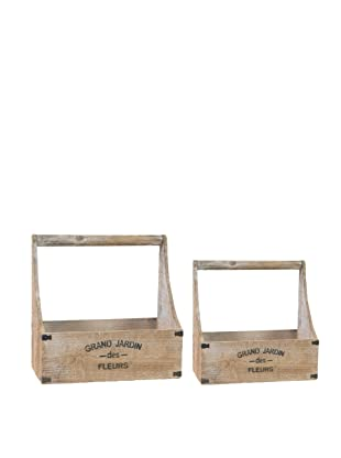 A&B Home Set of 2 Wooden Planters