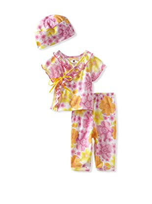 Country Baby Girl Short Sleeve Kimono Set (Country Flowers)