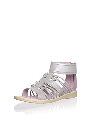 Billowy Kid's Knotted Sandal with Ankle Cuff (Silver)