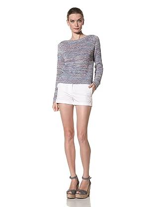 525 America Women's Tweed Crop Sweater (Purple Thistle Combo)