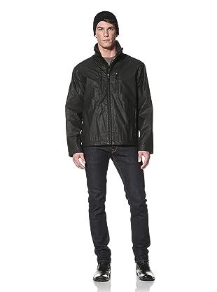 Andrew Marc Men's Phantom Stand Collar Jacket with Hidden Hood (Black)