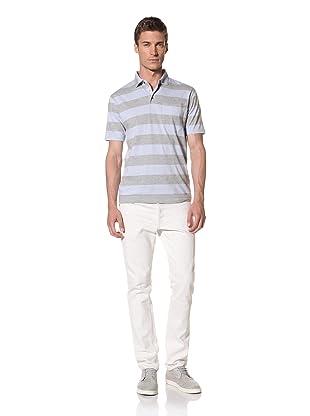 French Connection Men's Blinding Stripe Short Sleeve Polo Shirt (kentucky blue)
