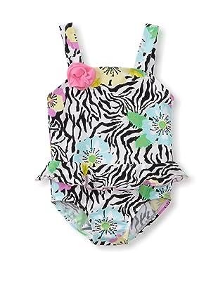 Bathing Beauty by Mack & Co Girl's Zebra Floral One Piece Swimsuit (Black/White)