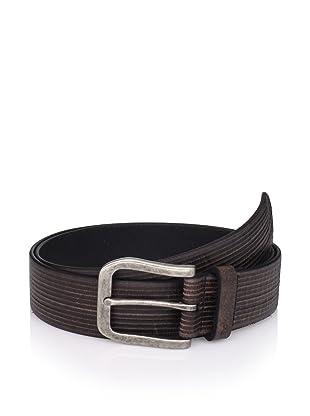 John Varvatos Star USA Men's Striped Leather Belt (Black)