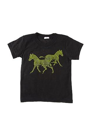 June Plum Clothing Baby Burnout Washed Zebra Tee Shirt (Black)