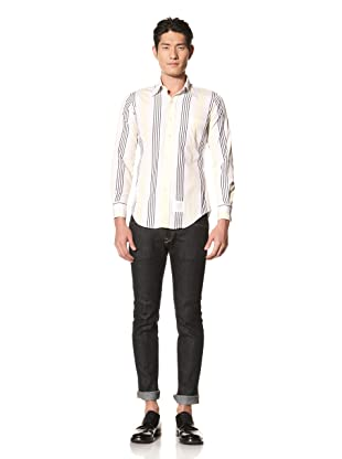 Thom Browne Men's Poplin Striped Shirt (Navy/Yellow)