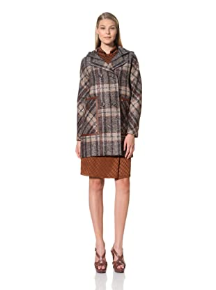 MARTIN GRANT Women's Hooded Duffle Coat with Leather Trim (Multicolored)