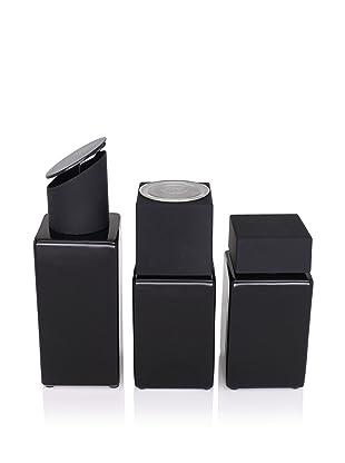 CULT DESIGN Cube Spice Jar, Grinder and Oil/Vinegar Set, Black