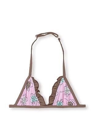 Les UltraViolettes Girl's Bonbon Triangle Swim Top (Imprime Rose)