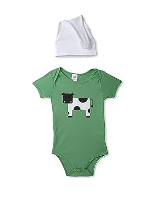 Colette Kids Oscar Cow Bodysuit & Knot Hat (Grass)