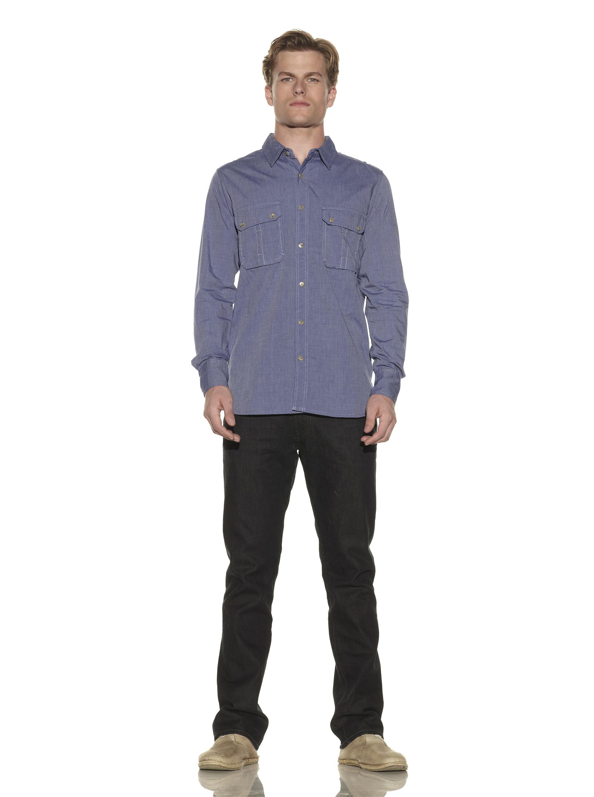 nüco Men's Long Sleeve Woven Chambray Shirt (Royal)