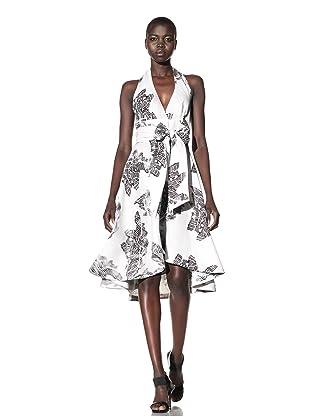 L.A.M.B. Women's Printed Halter Wrap Dress (Snow White/Black)