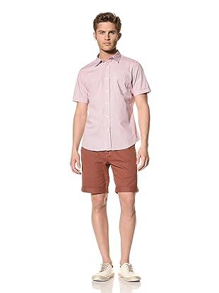 Vanishing Elephant Men's Classic Short Sleeve Woven Shirt (Maroon Mini Plaid)