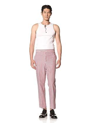 Thom Browne Men's Cotton Seersucker Pant (Red/White/Blue)