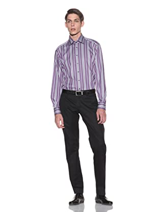 Toscano Men's Striped Button-Up Shirt (Wineberry)
